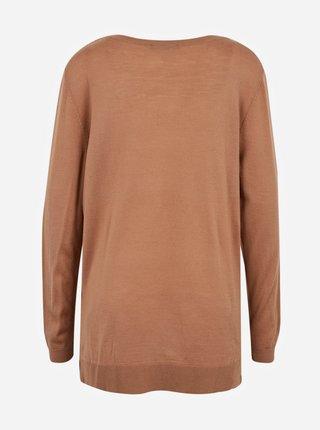 Hnědý vlněný lehký svetr CAMAIEU
