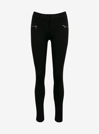 Černé skinny fit kalhoty se zipem CAMAIEU