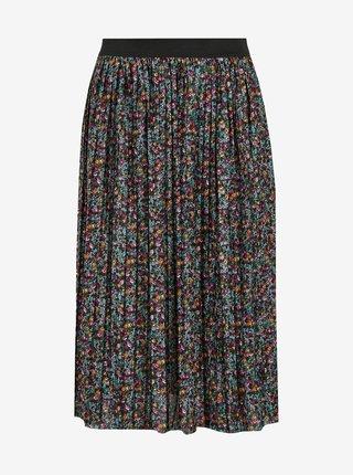 Tmavě zelená květovaná plisovaná sukně Jacqueline de Yong Boa