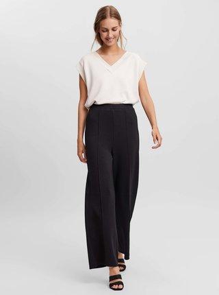Černé široké kalhoty VERO MODA Silky