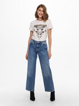 Béžové tričko s potiskem ONLY Lucy