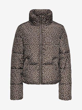 Hnědá puntíkovaná zimní prošívaná bunda Jacqueline de Yong Newerica