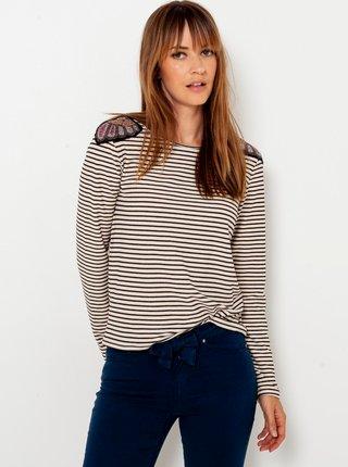 Černo-bílé pruhované tričko s výšivkou CAMAIEU