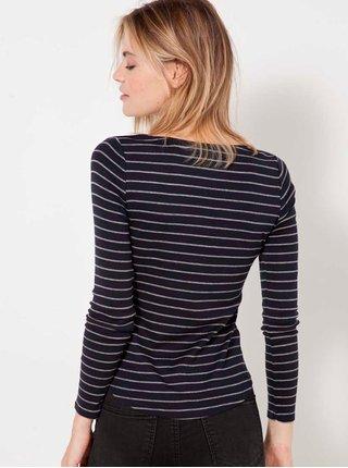 Tmavomodré pruhované basic tričko CAMAIEU