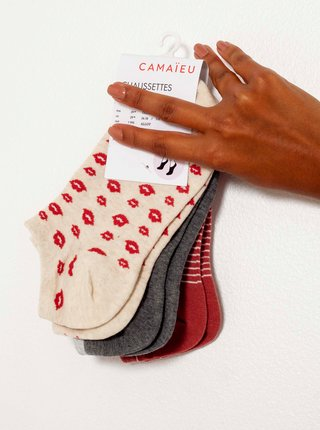 Ponožky pre ženy CAMAIEU - ružová, sivá, červená