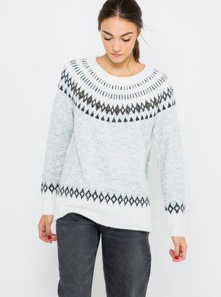 Svetlošedý vzorovaný sveter CAMAIEU
