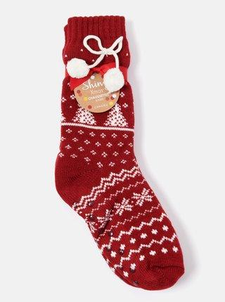 Červené ponožky s vianočným motívom CAMAIEU