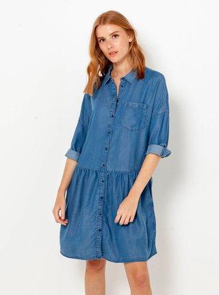 Modré džínové košilové šaty CAMAIEU