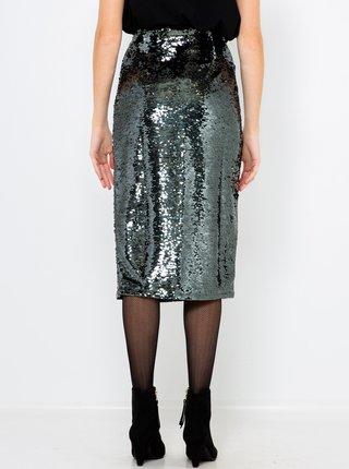 Trblietavá púzdrová sukňa v striebornej farbe s flitrami CAMAIEU