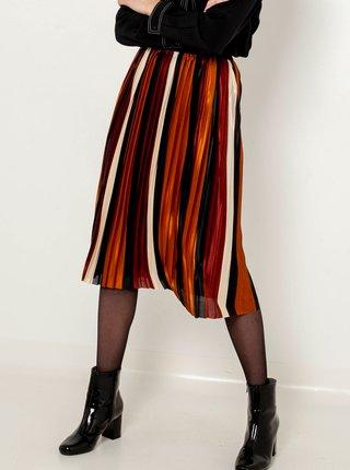 Hnedá pruhovaná plisovaná sukňa CAMAIEU