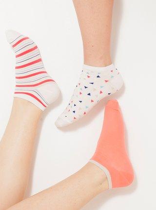 Sada tří párů ponožek v bílé a oranžové barvě CAMAIEU