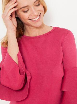 Růžový lehký svetr s volány CAMAIEU
