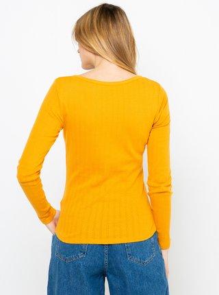 Hořčicové žebrované tričko CAMAIEU