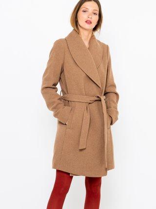 Hnědý kabát s příměsí lnu CAMAIEU