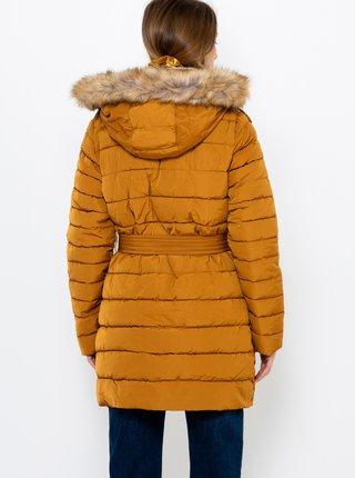 Horčicový prešívaný zimný kabát CAMAIEU
