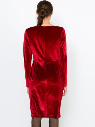 Červené sametové púzdrové šaty CAMAIEU