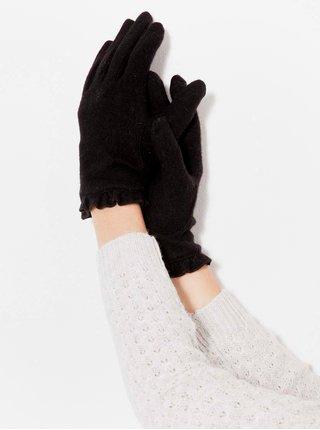 Tmavě hnědé lněné rukavice CAMAIEU