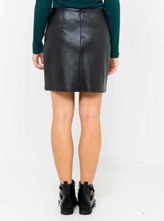 Čierna koženková sukňa CAMAIEU