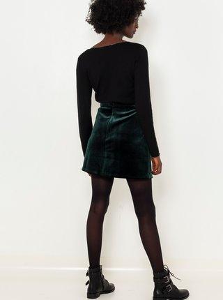 Tmavě zelená sukně v semišové úpravě CAMAIEU