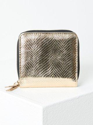 Lesklá peněženka ve zlaté barvě s hadím vzorem CAMAIEU