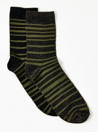 Zeleno-čierne pruhované ponožky CAMAIEU