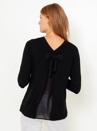 Černý svetr s průhlednou vsadkou na zádech CAMAIEU