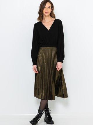 Midišaty v černé a zlaté barvě s plisovanou sukní CAMAIEU