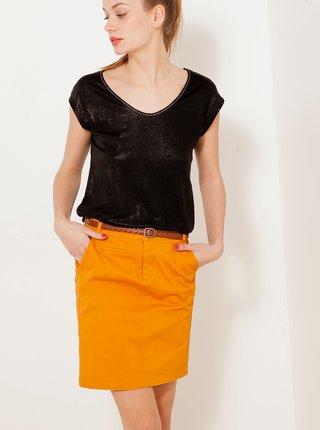 Oranžová rifľová sukňa CAMAIEU