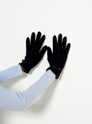 Černé puntíkované vlněné rukavice CAMAIEU