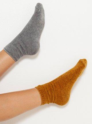 Sada dvou ponožek v šedé a hořčicové barvě CAMAIEU