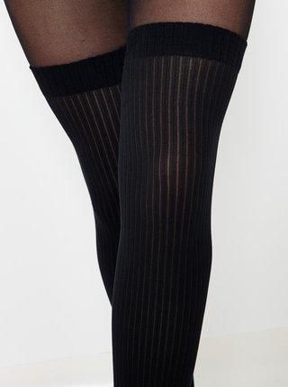 Černé pruhované punčochové kalhoty CAMAIEU