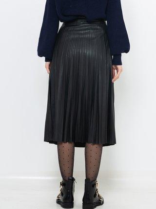 Černá plisovaná koženková midi sukně CAMAIEU