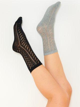 Sada dvoch ponožiek v čiernej a svetlošedej farbe CAMAIEU