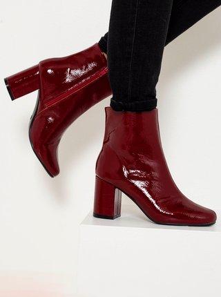 Vínové kotníkové boty CAMAIEU