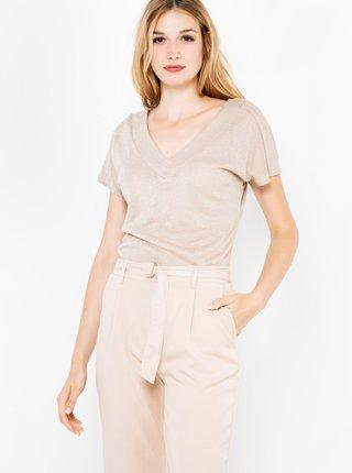 Tričká s krátkym rukávom pre ženy CAMAIEU - béžová