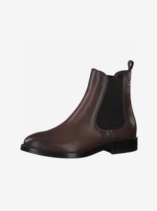 Tmavě hnědé kožené chelsea boty Tamaris