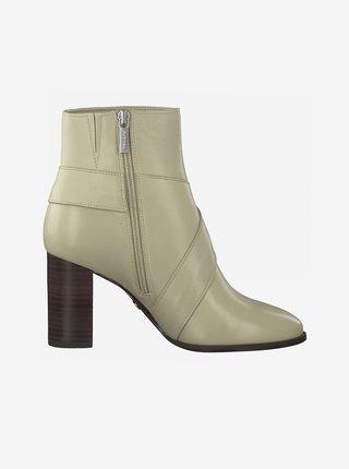 Krémové kožené kotníkové boty na podpatku Tamaris