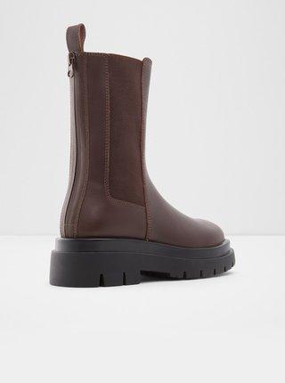 Hnědé dámské kožené kotníkové boty na platformě ALDO Maple