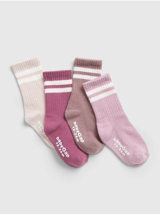 Růžové holčičí ponožky, 4ks