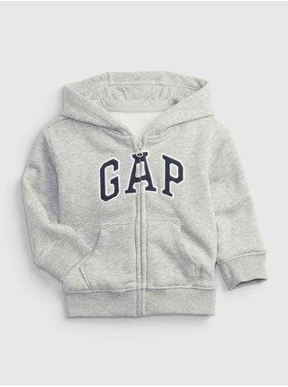 Šedá klučičí mikina na zip GAP logo fleece