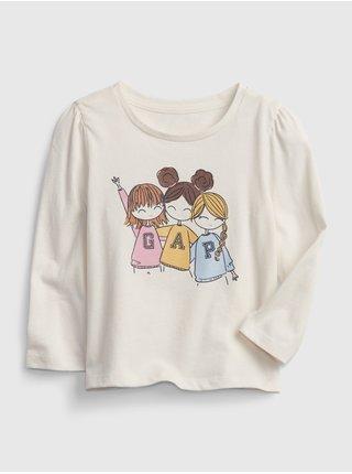 Smetanové holčičí tričko s obrázkem