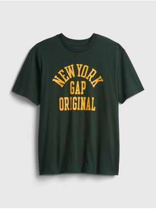 Zelené pánské tričko New York GAP Logo