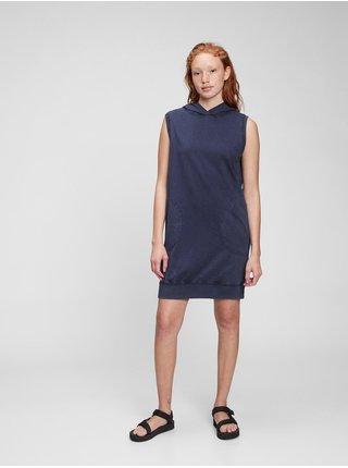 Modré dámské šaty hoodie dress