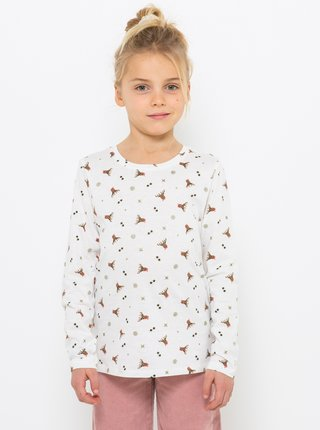 Biele vzorované dievčenské tričko CAMAIEU