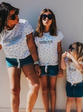 Biele bodkované dievčenské tričko CAMAIEU