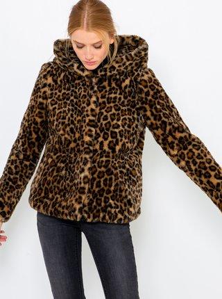 Černo-hnědá bunda s leopardím vzorem CAMAIEU