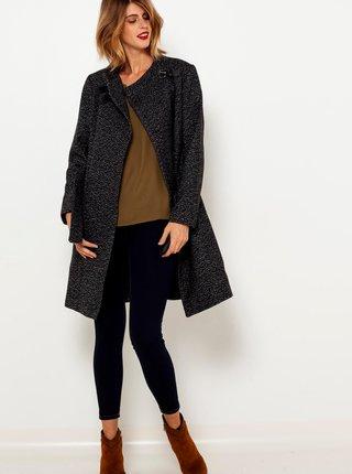 Tmavošedý kabát s prímesou vlny a s ozdobnou prackou CAMAIEU
