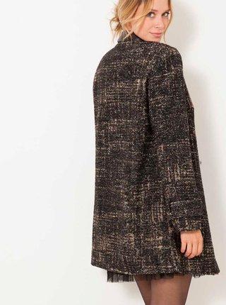 Tmavošedý melírovaný kabát s prímesou vlny CAMAIEU