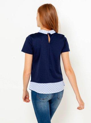 Tmavomodré tričko s všitou blúzkovou časťou CAMAIEU