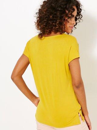 Žlté tričko s ozdobnými detailmi CAMAIEU